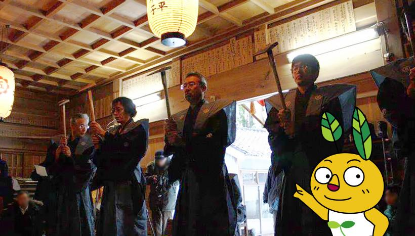 写真:「御田植神事」新潟県佐渡市・五所神社(2月6日)