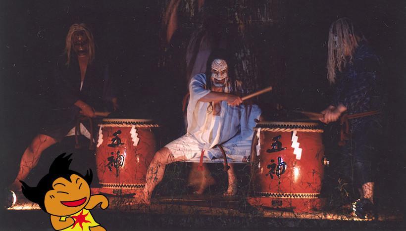 写真:三島神社 五神太鼓」愛媛県上浮穴郡久万高原町・三島神社(7月第四土曜日)