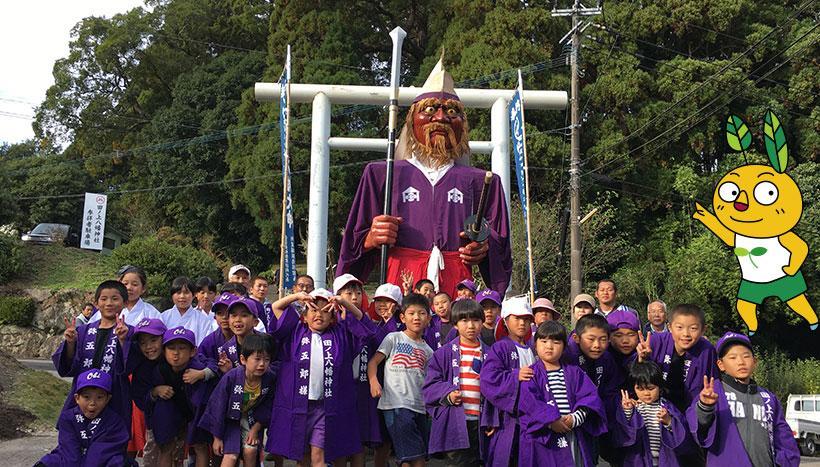 写真:「弥五郎人形行事」宮崎県日南市・田ノ上八幡神社(11月1日)